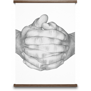 Folded hands white 50x70cm